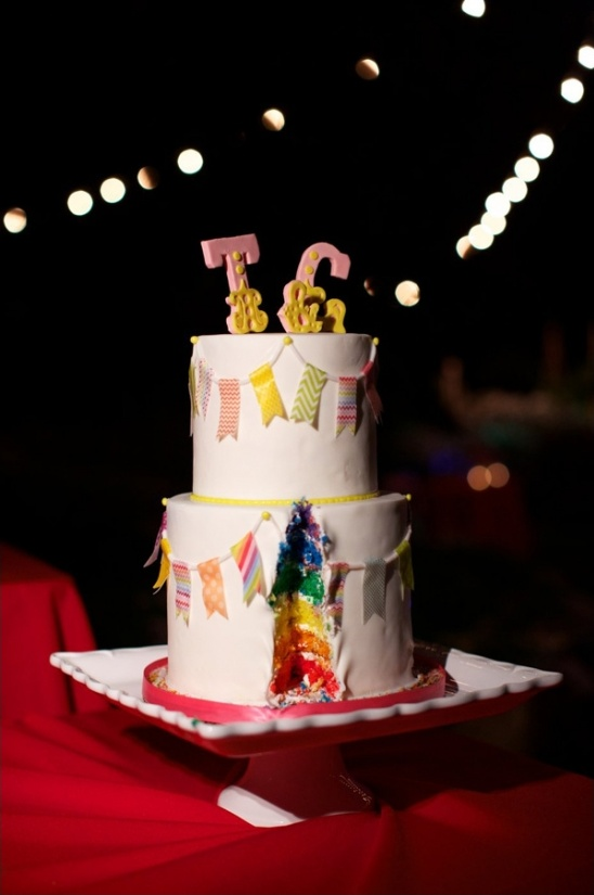rainbow layer wedding cake