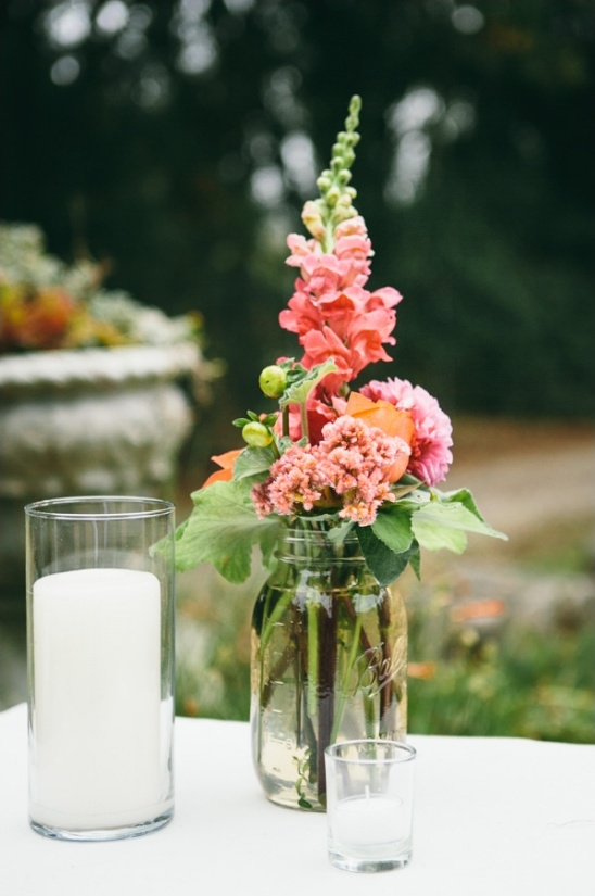 candle and mason jar floral decor