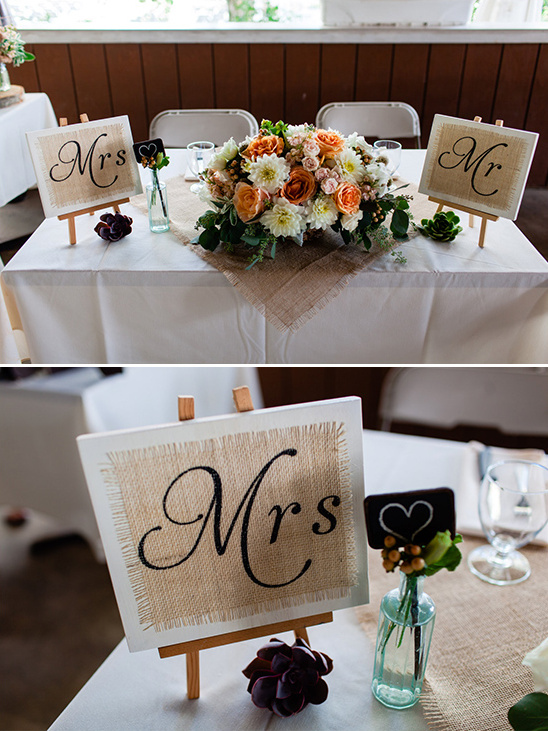 mr and mrs signs at the sweetheart table