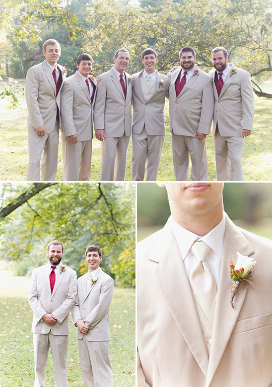 tan and red groomsmen looks