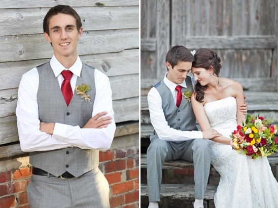 grey vest and pants and a red tie groom look
