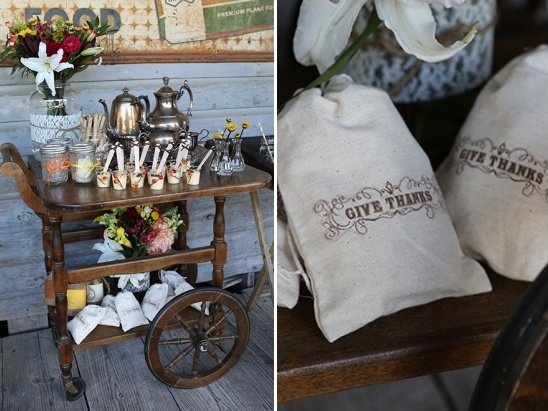 hot tea cart and give thanks wedding favors