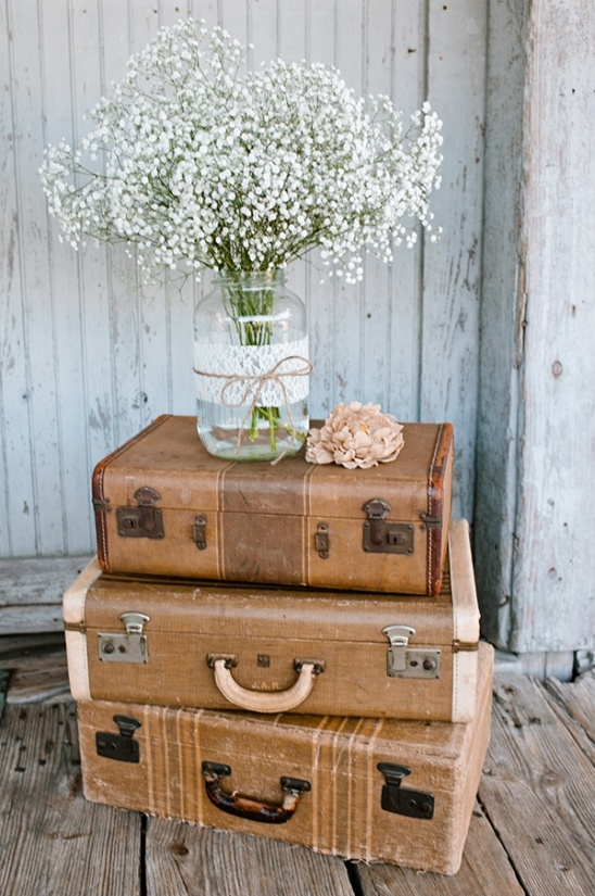 vintage suitcases and babys breath bouquet