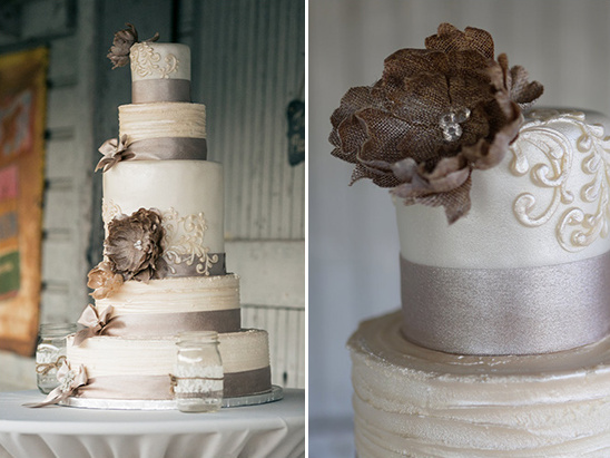 burlap flowers on wedding cake