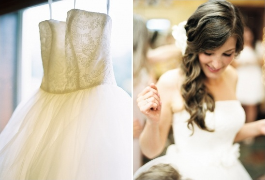 vera wang wedding dress and side swept wedding hair