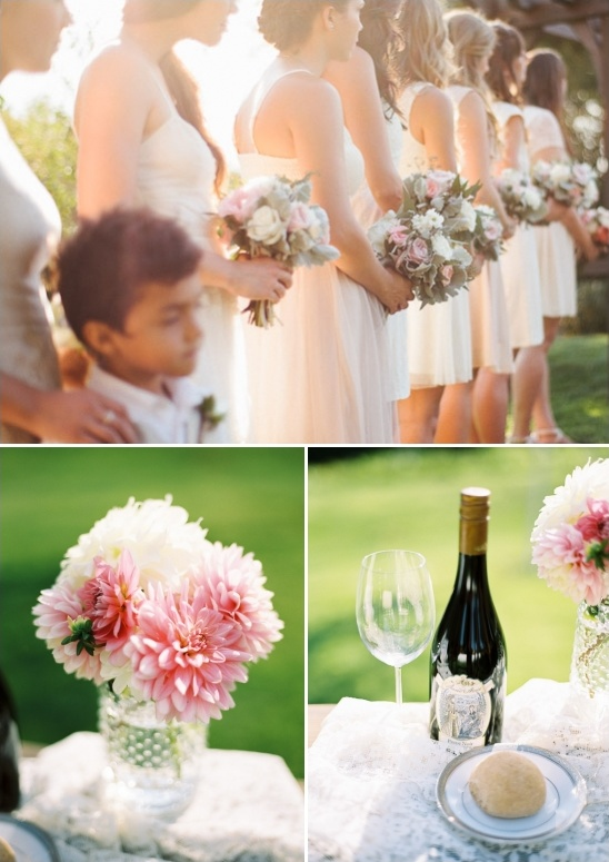 pink and peach outdoor wedding