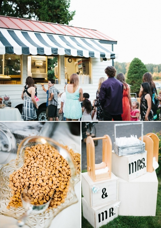 wedding ice cream station with all the fixings