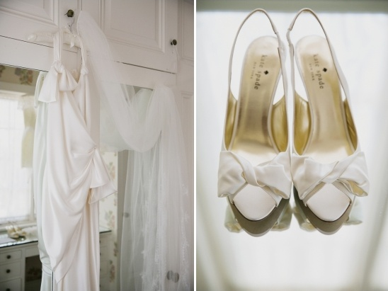 white wedding shoes and dress