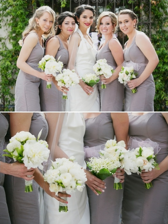 white bridesmaids bouquets