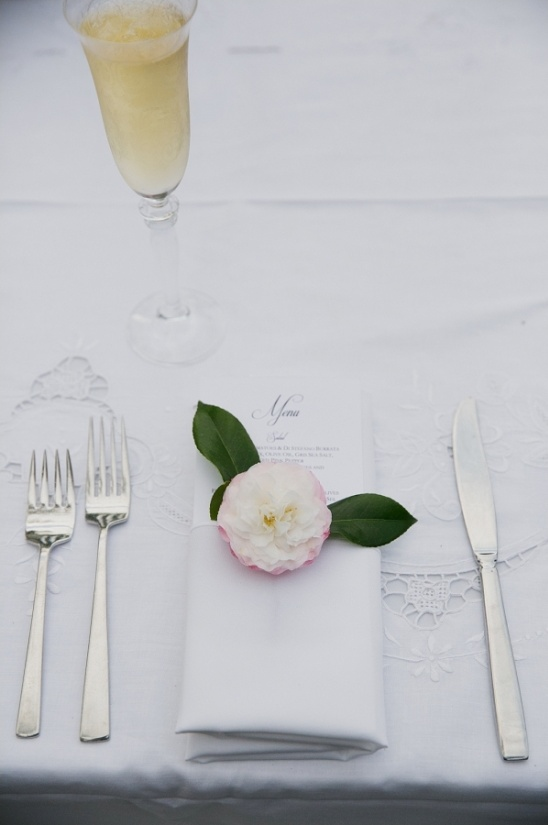 florals placed on wedding napkins