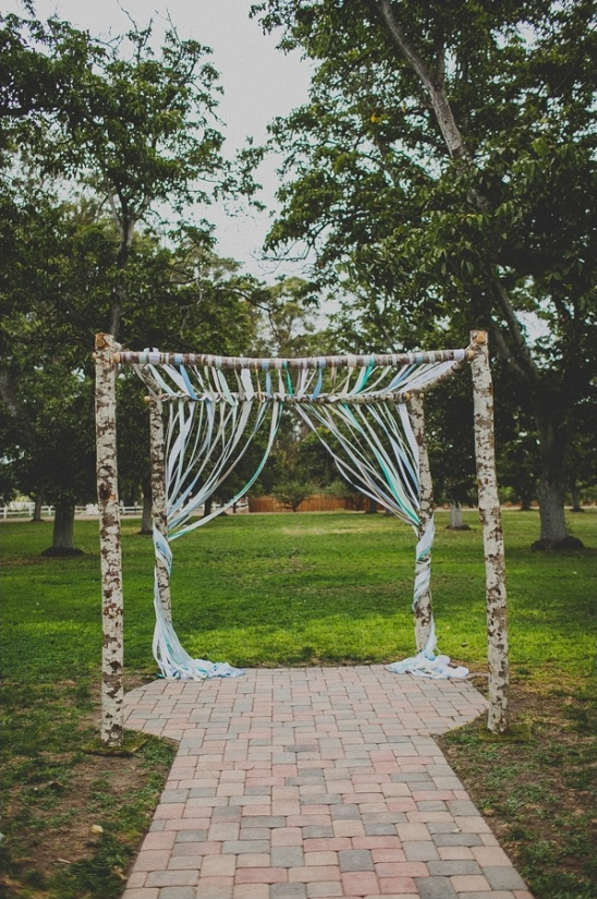 ribboned wedding arch