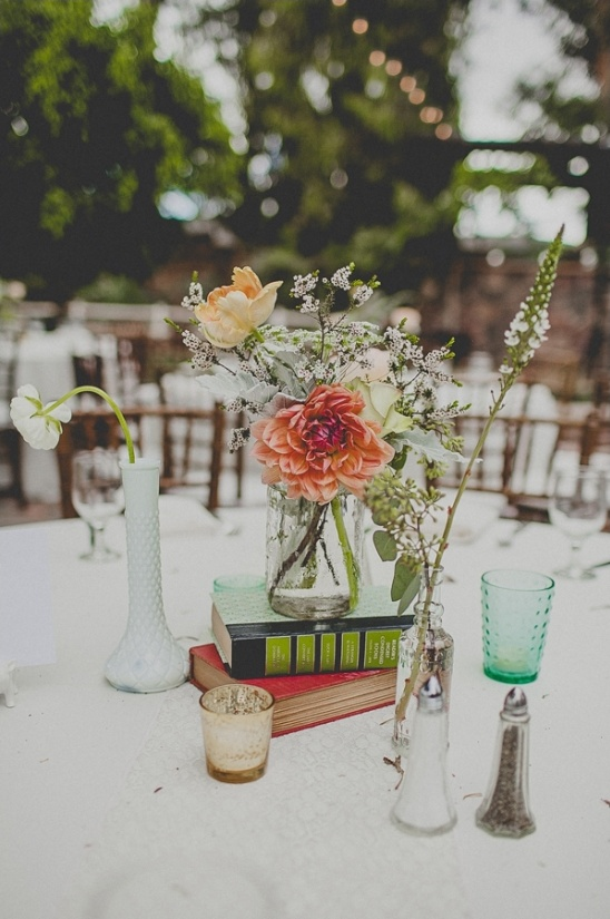 simple book and floral centerpiece