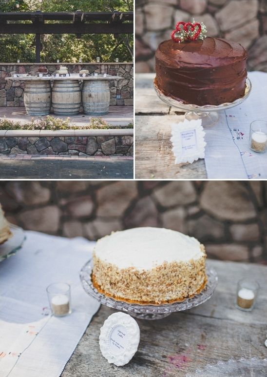 cake table on wine barrels