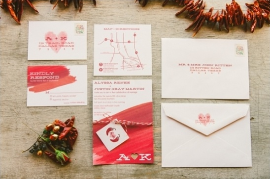 red wash wedding stationery