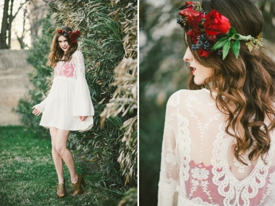 short red and white wedding gown