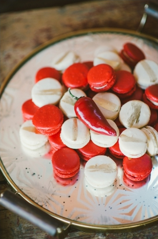 red and white macaroons