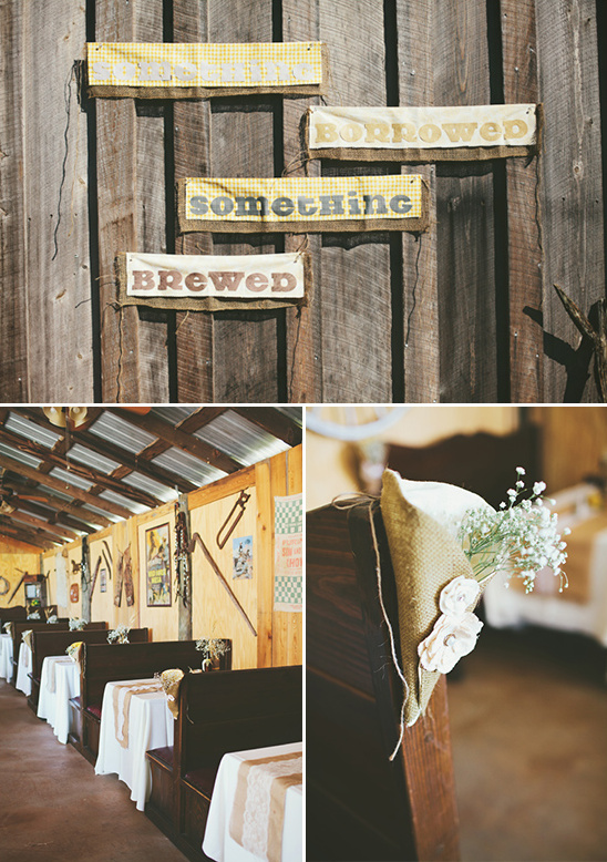 something borrowed something brewed sign and dinner style seating