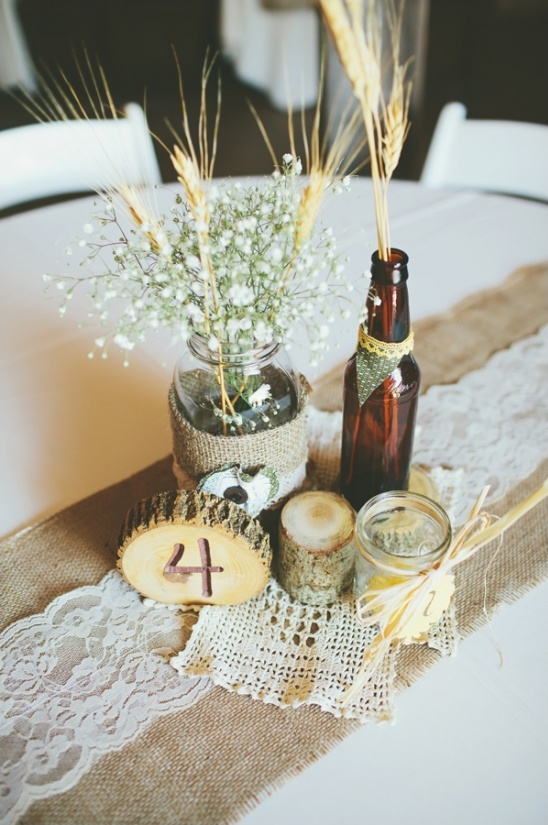 beer bottle and mason jar centerpieces