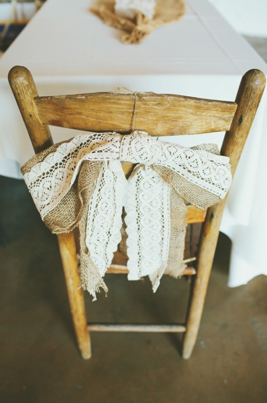 burlap and lace chair decor