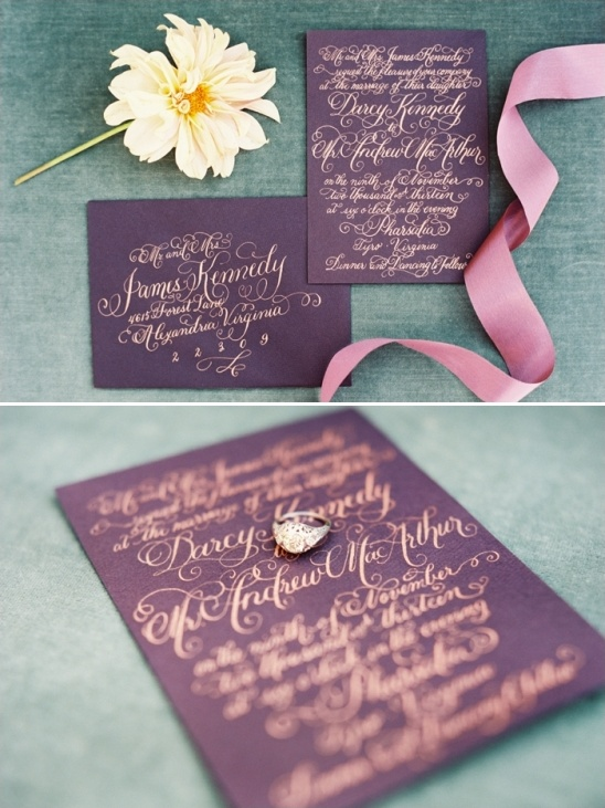 purple wedding invites
