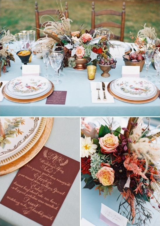 late autumn colors inspired table decor