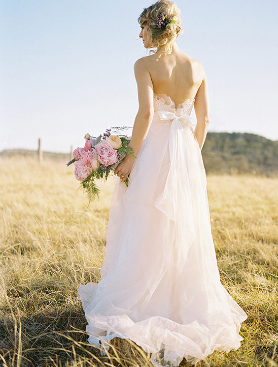 pink wedding dress by Watters