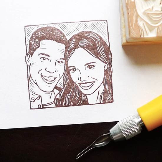 Hand-carved Couple Portrait Stamp