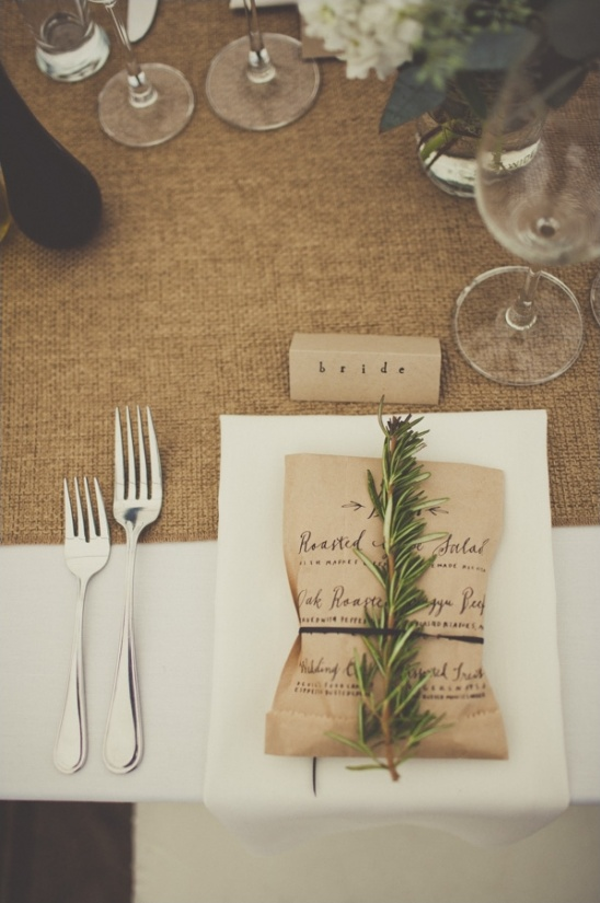 wedding menu printed on brown bag