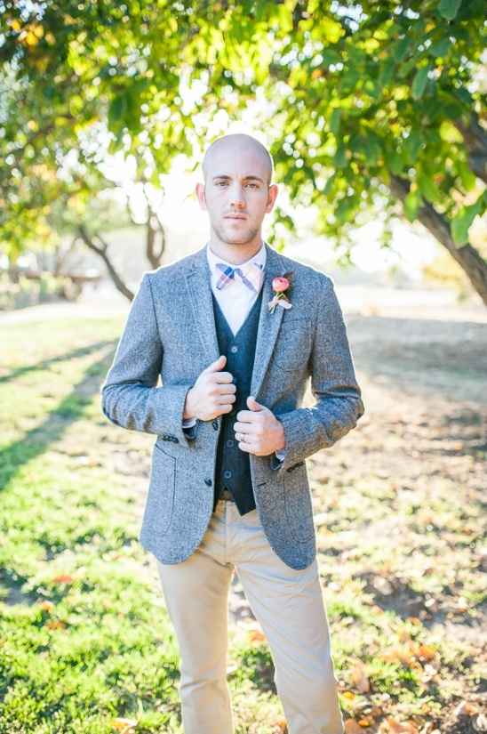 tweed jacket bow tie and tan pants groom look