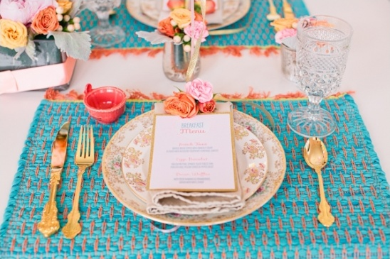 pink and blue place settings