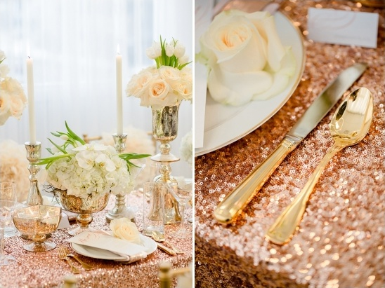 Glamorous Rose Gold Wedding Ideas Quinceanera Table Settings