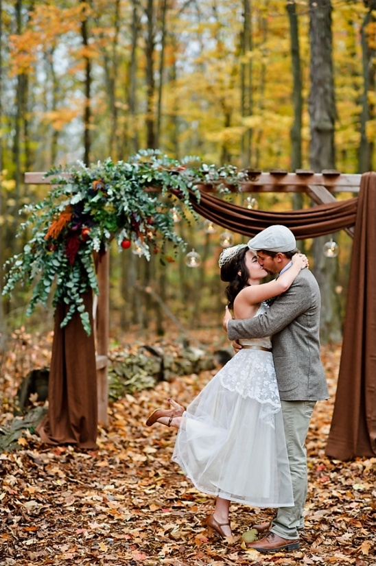 fall inspired wedding arch