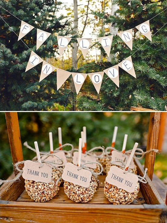 burlap falling in love banner and carmel apple thank you gifts