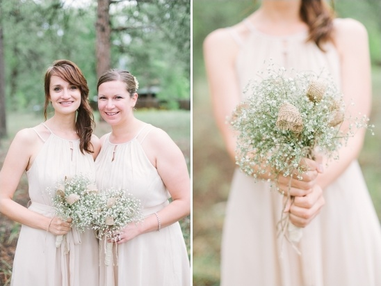 beige bridesmaids with babys breath bouquets