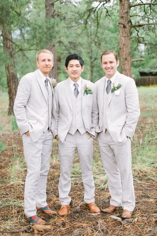 cream and grey groomsmen look