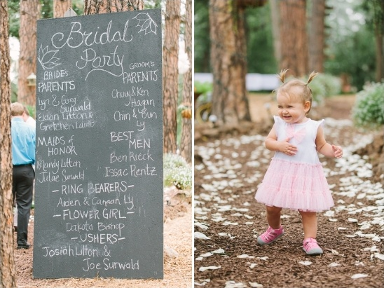 large chalkboard wedding program and flower girl