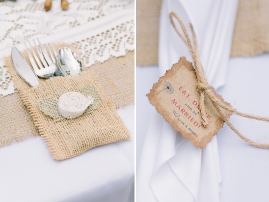 burlap silverware pockets and eat drink and be married napkin tags