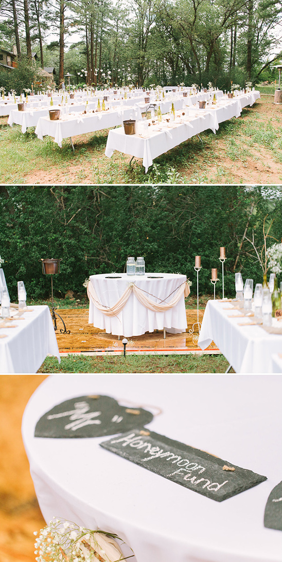 rustic outdoor reception and sweetheart table