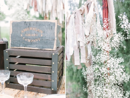 vintage grain box and diy fabric banner decor