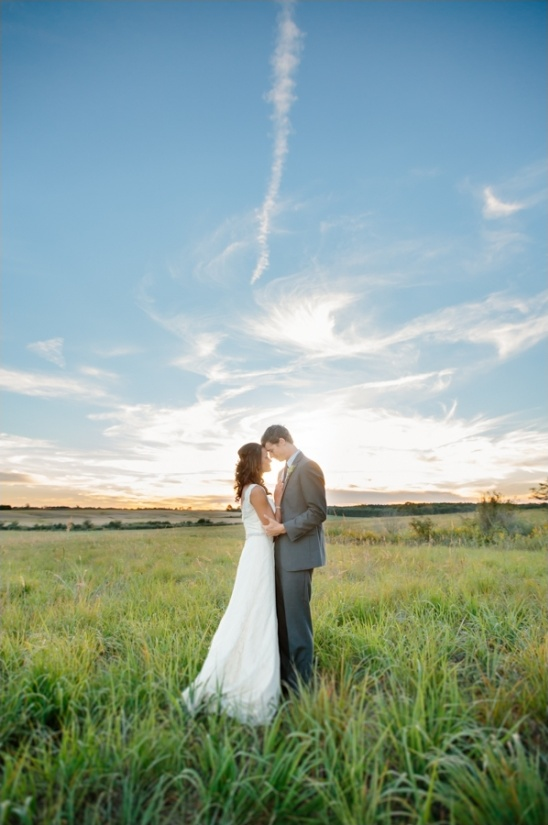 amazing sunset picture of the bride and groom