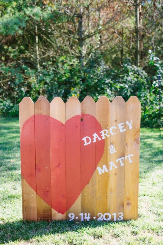 fence post wedding sign