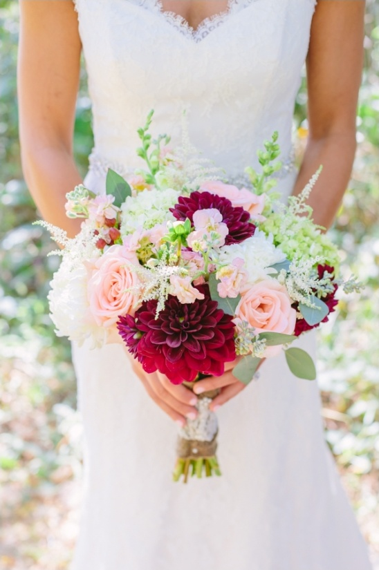 DIY pink wedding bouquet