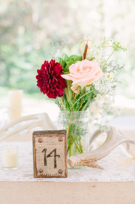 wood block and burlap table numbers