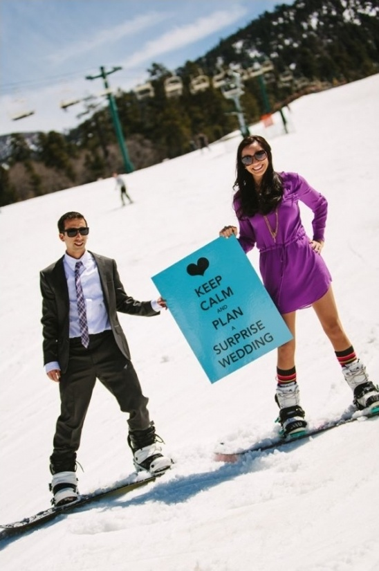 keep calm for your snowbaording engagement shoot