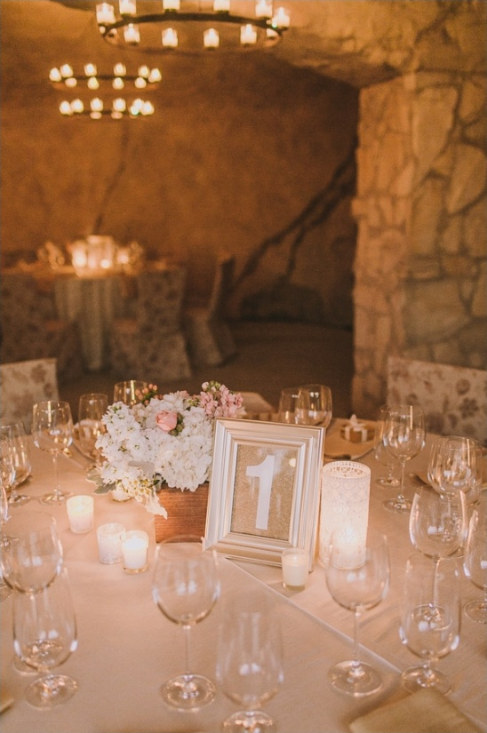 candle lit reception in the Sunstone winery cellar