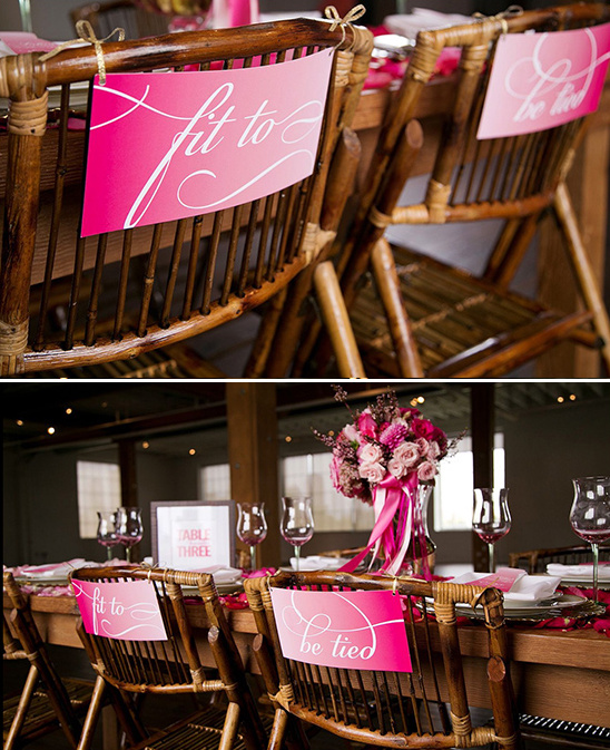 pink ombre chair cards