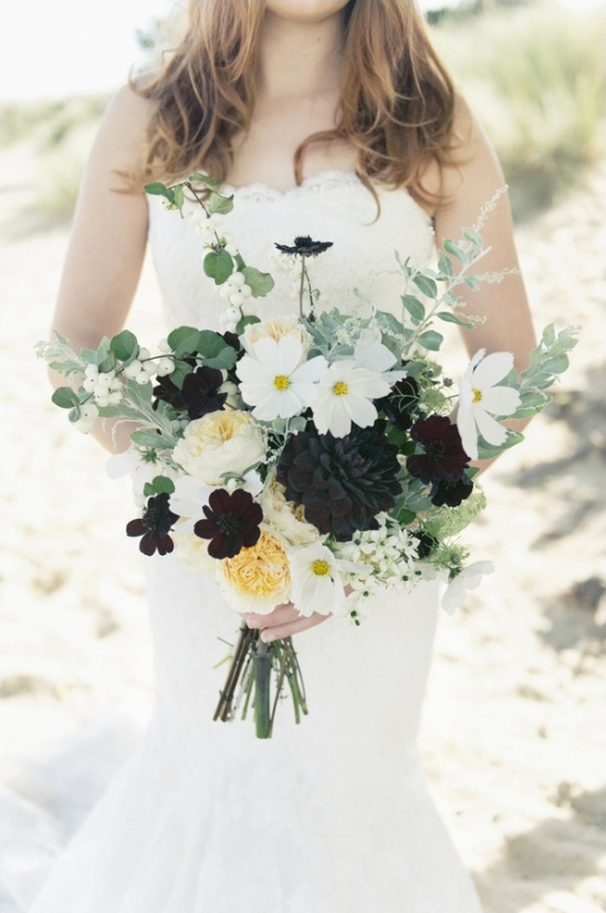white green and black wedding bouquet