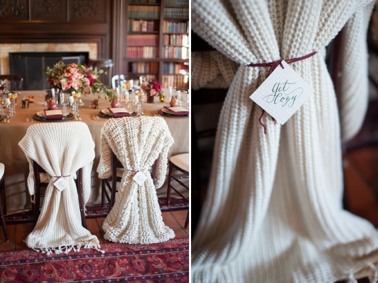 Cozy winter wedding ideas cozy throws for the bride and grooms chairs winter wedding florals junglespirit Choice Image