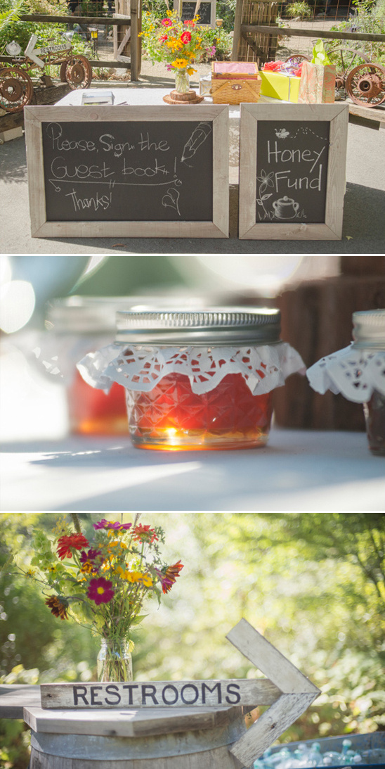 wedding welcome signs and honey favors