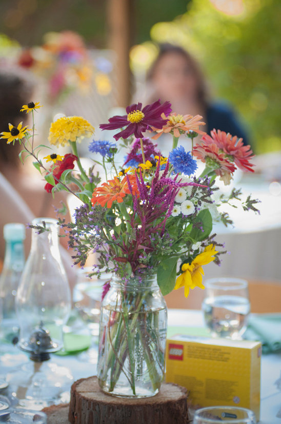 colorful wildflower centerpiece